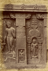 Sculpture on rock face to right of porch of Buddhist Chaitya Hall, Cave XIX, Ajanta